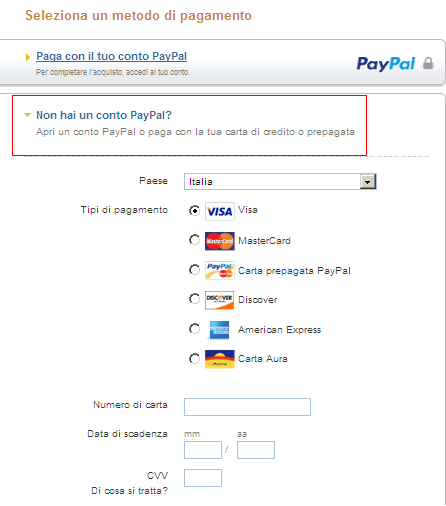 Paga con la tua carta dì credito tramite Paypal