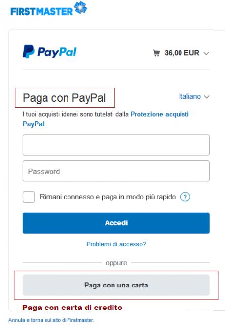 Pagamenti con Payal e con carta di credito